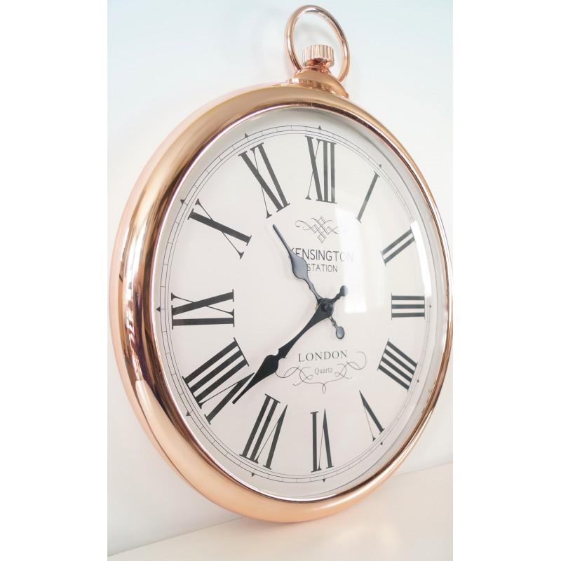 large copper pocket style wall clock. Black Bedroom Furniture Sets. Home Design Ideas