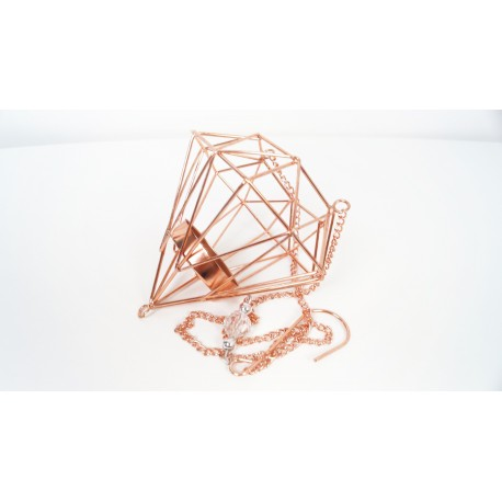 Hanging geometric copper candle holder 72cm