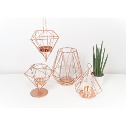 Geometric copper candle holder on base 12 cm