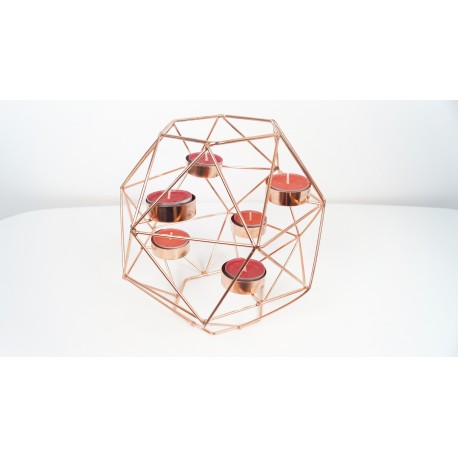 Large 6 piece geometric copper candle holder 20 cm