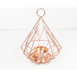Pyramid geometric copper candle holder 14cm