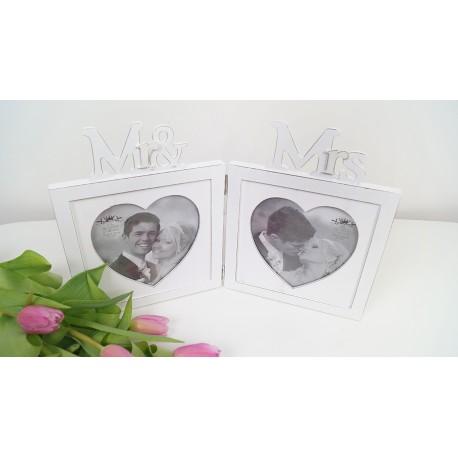Twin White Photo Frame Mr & Mrs Wedding Gift Anniversary