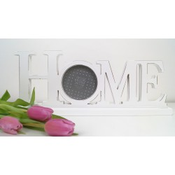 Decorative White Wood Photo Frame HOME Wording