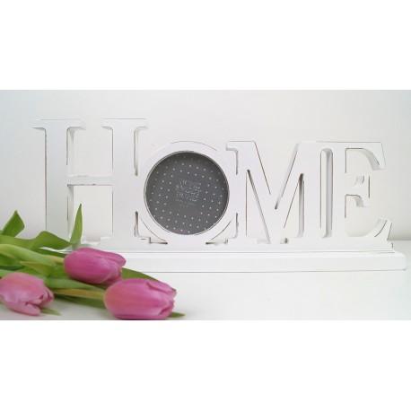 Decorative White Wood Photo Frame HOME Wording