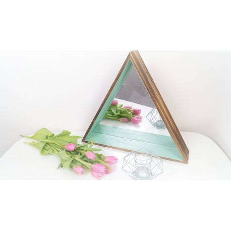Boho wooden triangle mirror shelf