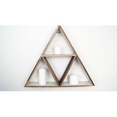 Boho wooden triangle large shelf