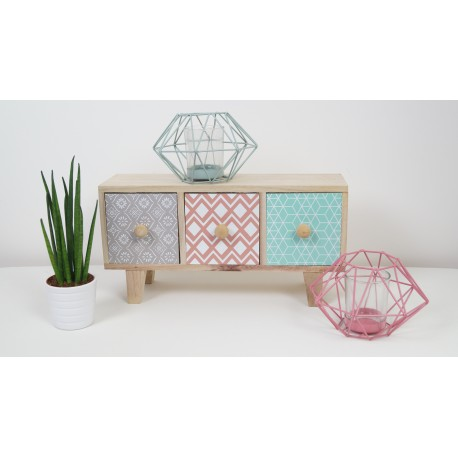 Three wooden geometric drawers