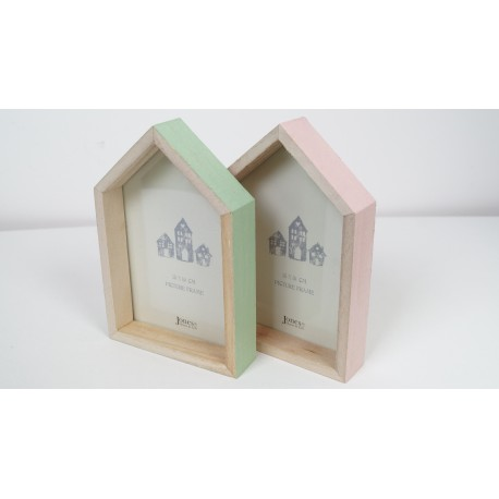House shaped picture photo frame pink or mint large