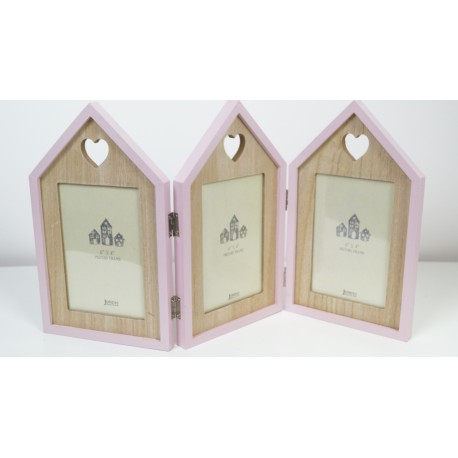 Triple house shaped picture photo frame with cut-out hearts pink