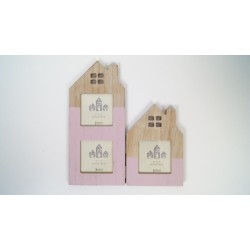 Double house shaped picture photo frame pink