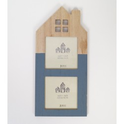 House shaped picture photo frame blue 30 cm