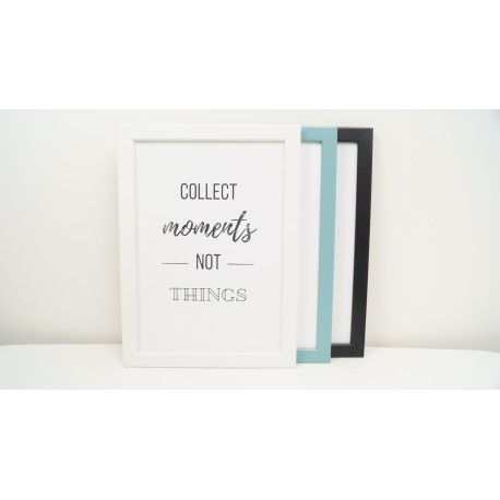 "Framed poster ""COLLECT MOMENTS NOT THINGS"" A4 with crystals"