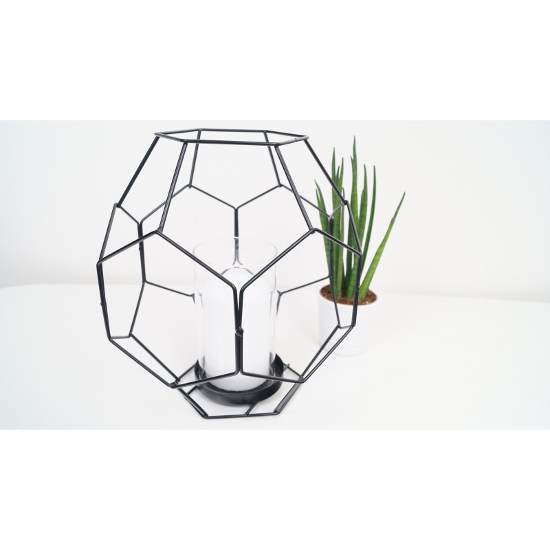 Large Black Metal Geometric Candle Holder