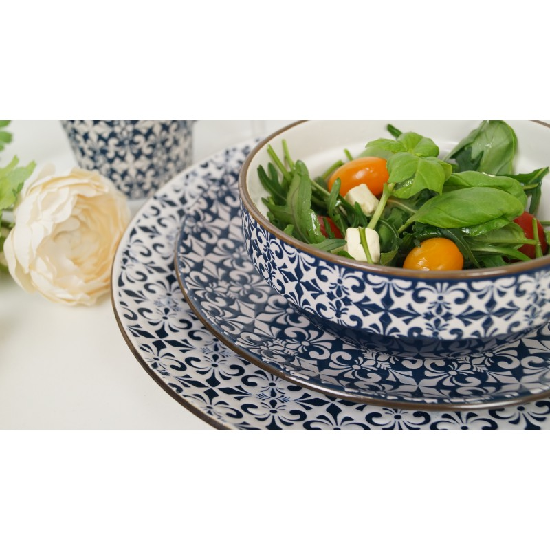 Stylish Mosaic Blue And White Decorative Dinner Plates Set
