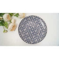 Stylish mosaic blue and white decorative DINNER PLATES SET OF 2