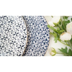 Stylish mosaic blue and white decorative side plates SET OF 2
