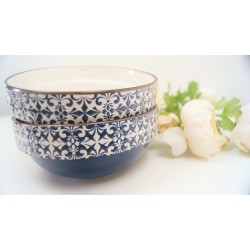 STYLISH MOSAIC BLUE AND WHITE DECORATIVE BOWL SET OF 2
