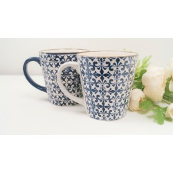 Decorative Mugs set of 2. Stylish mosaic blue and white