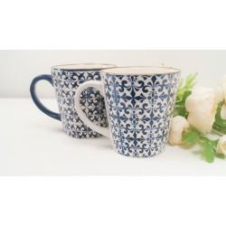 Decorative Mugs set of 2. Stylish mosaic blue and white