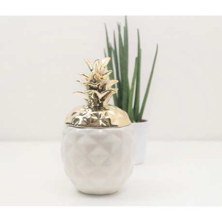 Decorative White and Gold Pineapple Designer Ornamnent