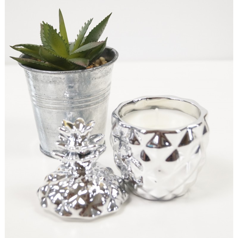Silver Pineapple Candle Candle
