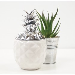 Decorative White and Silver Pineapple Designer Ornamnent