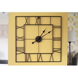 Large Square Metal Black Skeleton Wall Clock 60cm Roman Numerals