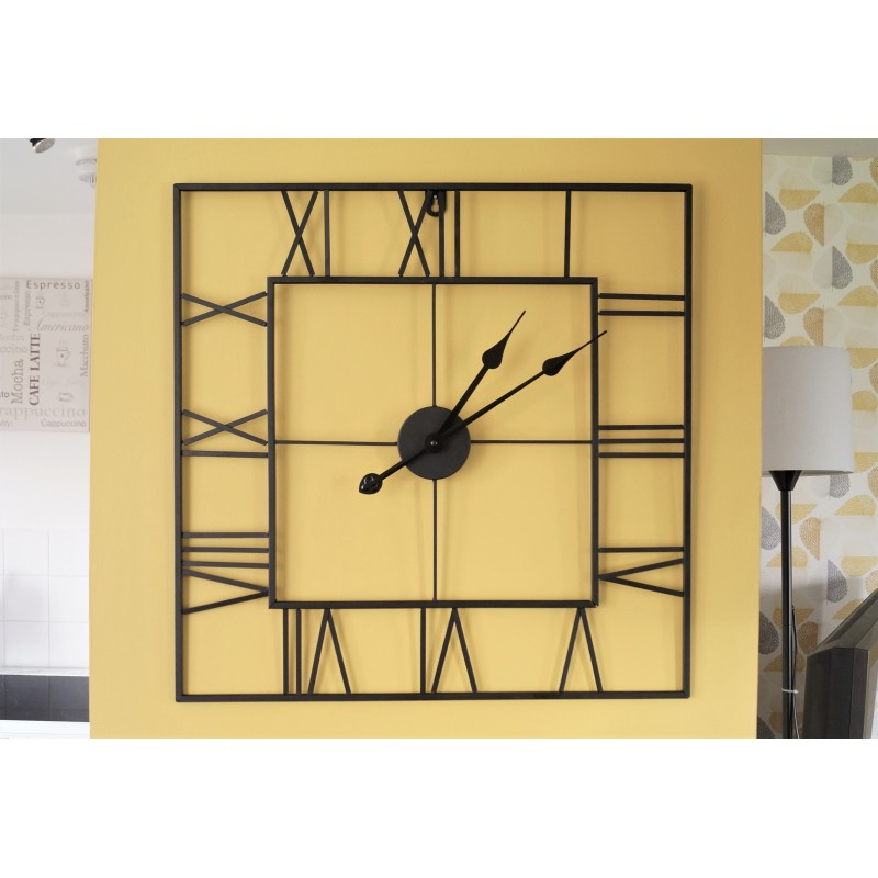 Large Square Metal Black Skeleton Wall Clock 60cm Roman