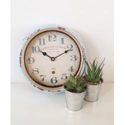 Distressed Blue Metal Retro Wall Clock 25cm