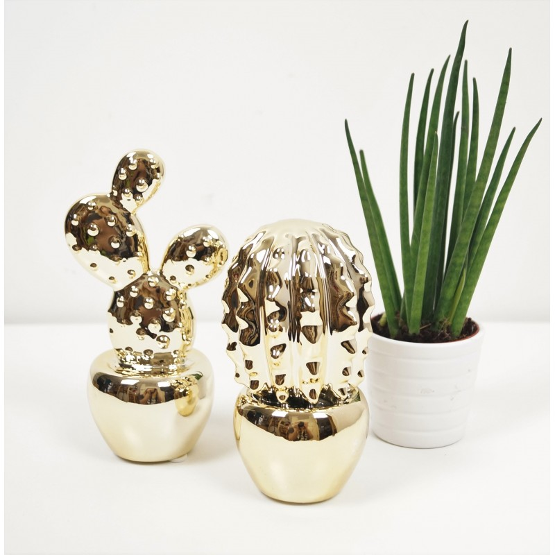 Gold Decorative Cactus Ceramic Ornament Set Of 2