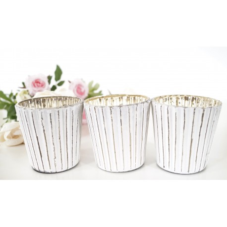 Stylish 7cm Candle Holders set of 3 - White and Gold