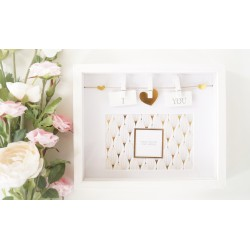 Box Photo Frame With a Sentiment Slogan And Hearts Pegged