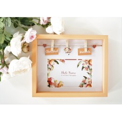 Tropical Box Photo Frame With Pegs and Slogan - Cherished Moments