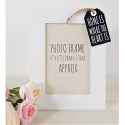 Tag Style Wooden Photo Frame 4x6 home is where the heart is