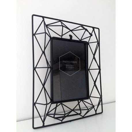 Black Metal Geometric Design 3D Photo Frame