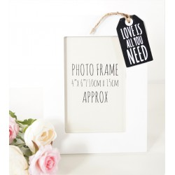 Tag Style Wooden Photo Frame 4x6  - Love is - black tag