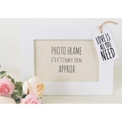 Tag Style Wooden Photo Frame 4x6  - Love is - white tag