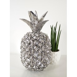 Large Decorative Silver Art Pineapple Designer Ornamnent