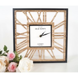 Modern Square Wood Skeleton Wall Clock Roman Numerals Quartz