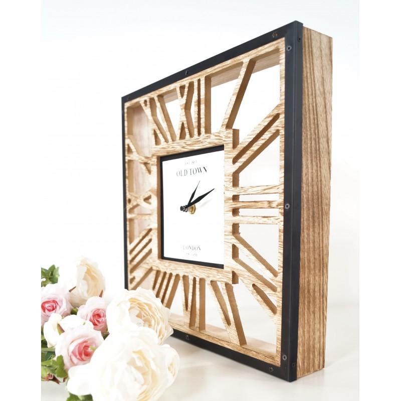 Modern Square Wood Skeleton Wall Clock Roman Numerals Quartz