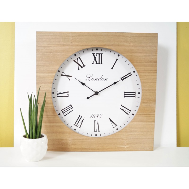 Modern Wood Natural Square Wall Clock Roman Numerals