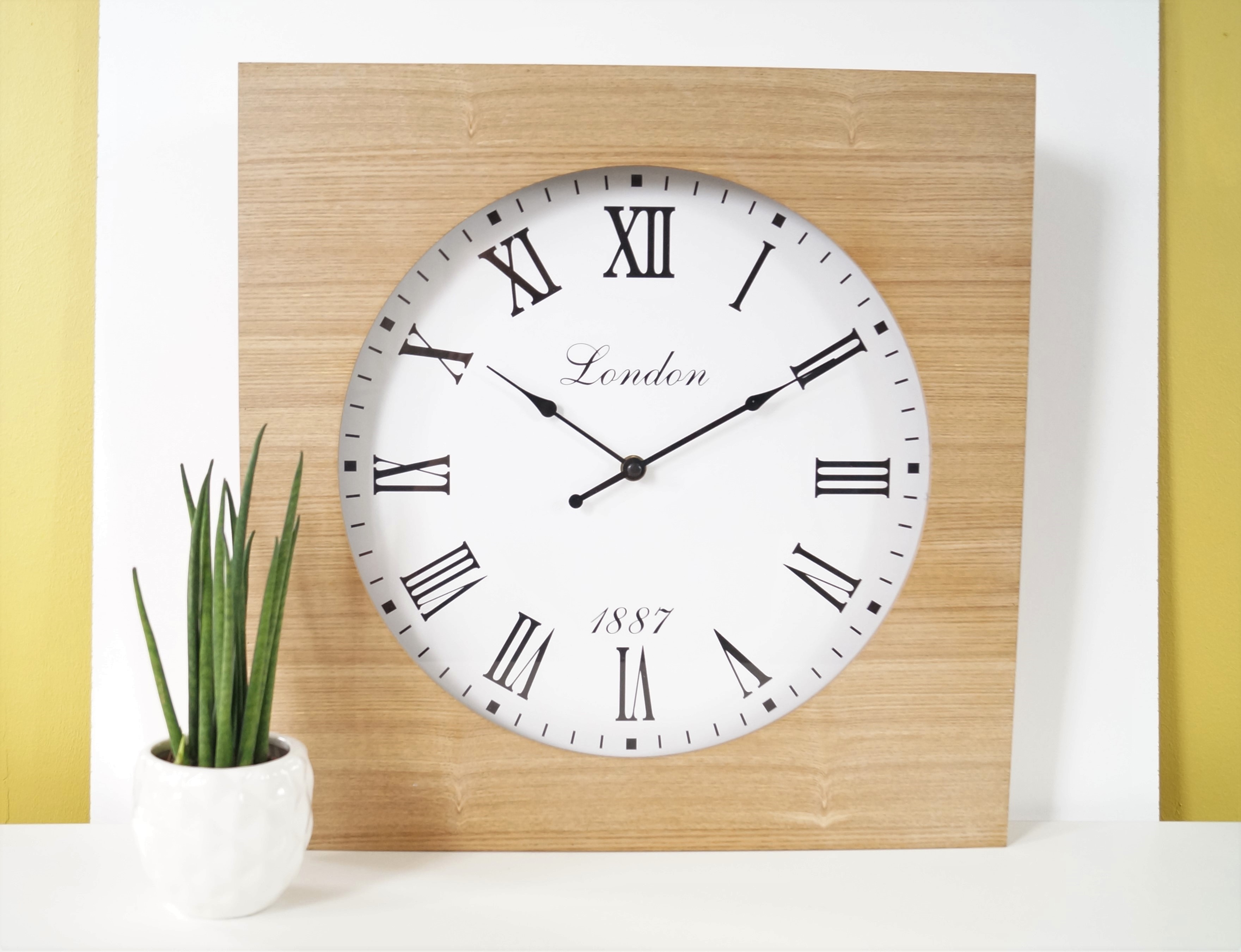 Modern wood natural square wall clock roman numerals quartz 40cm amipublicfo Image collections