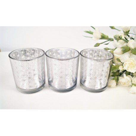 Allure Mirr Candle Holders set of 3 Silver