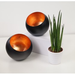 Designer Modern Tea Light Holder Bronze and Black
