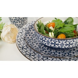 Stylish mosaic blue and white decorative 18 - piece dinner set