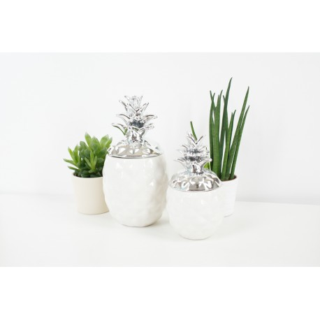 Decorative White and Silver Pineapple Designer Ornamnent