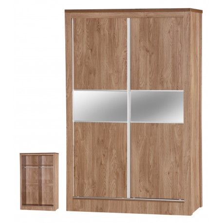 Holland Oak Sliding Mirrored Wardrobe