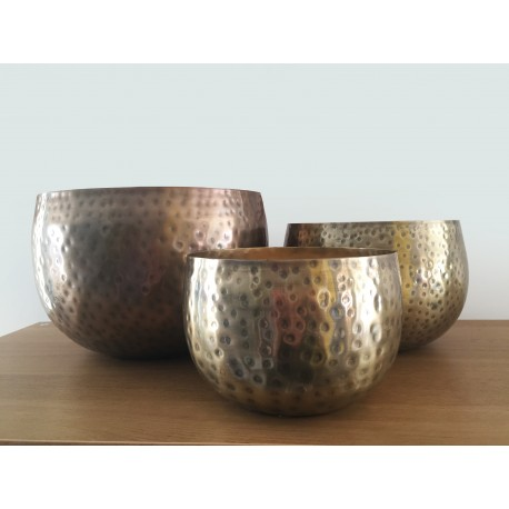 Hammered Textured Gold Planters set of 3 Savvy Made In India