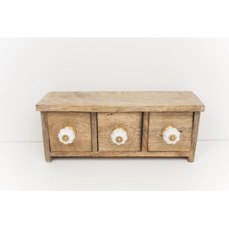 Real Solid Wood 3 Drawer Box with Ceramic knobs