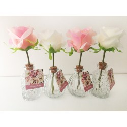 Satin Rose Clear Glass Shaped Vase like a real flowers